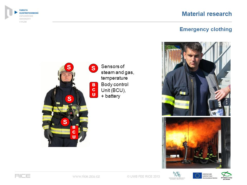 Material research Emergency clothing S S S S BCUBCU BCUBCU Sensors of steam and gas, temperature Body control Unit (BCU), + battery