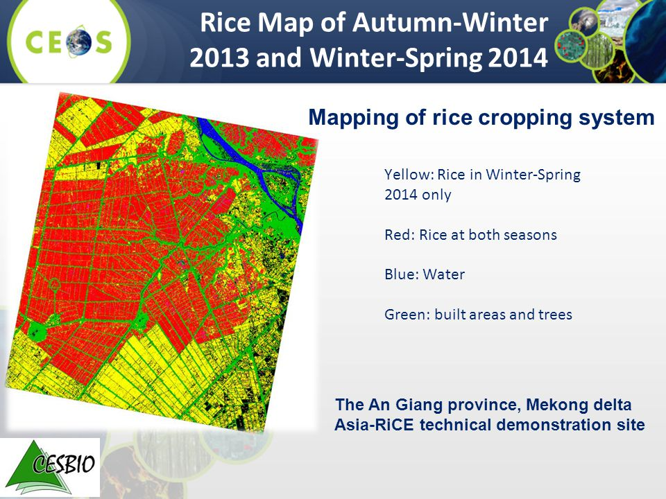 Yellow: Rice in Winter-Spring 2014 only Red: Rice at both seasons Blue: Water Green: built areas and trees Rice Map of Autumn-Winter 2013 and Winter-Spring 2014 The An Giang province, Mekong delta Asia-RiCE technical demonstration site Mapping of rice cropping system