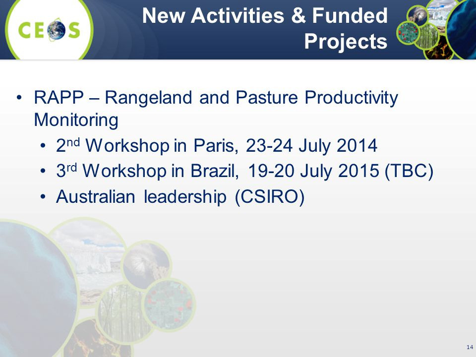 RAPP – Rangeland and Pasture Productivity Monitoring 2 nd Workshop in Paris, 23-24 July 2014 3 rd Workshop in Brazil, 19-20 July 2015 (TBC) Australian leadership (CSIRO) New Activities & Funded Projects 14