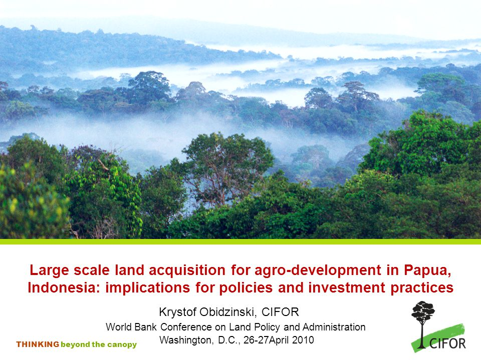 THINKING beyond the canopy Large scale land acquisition for agro-development in Papua, Indonesia: implications for policies and investment practices Krystof Obidzinski, CIFOR World Bank Conference on Land Policy and Administration Washington, D.C., 26-27April 2010