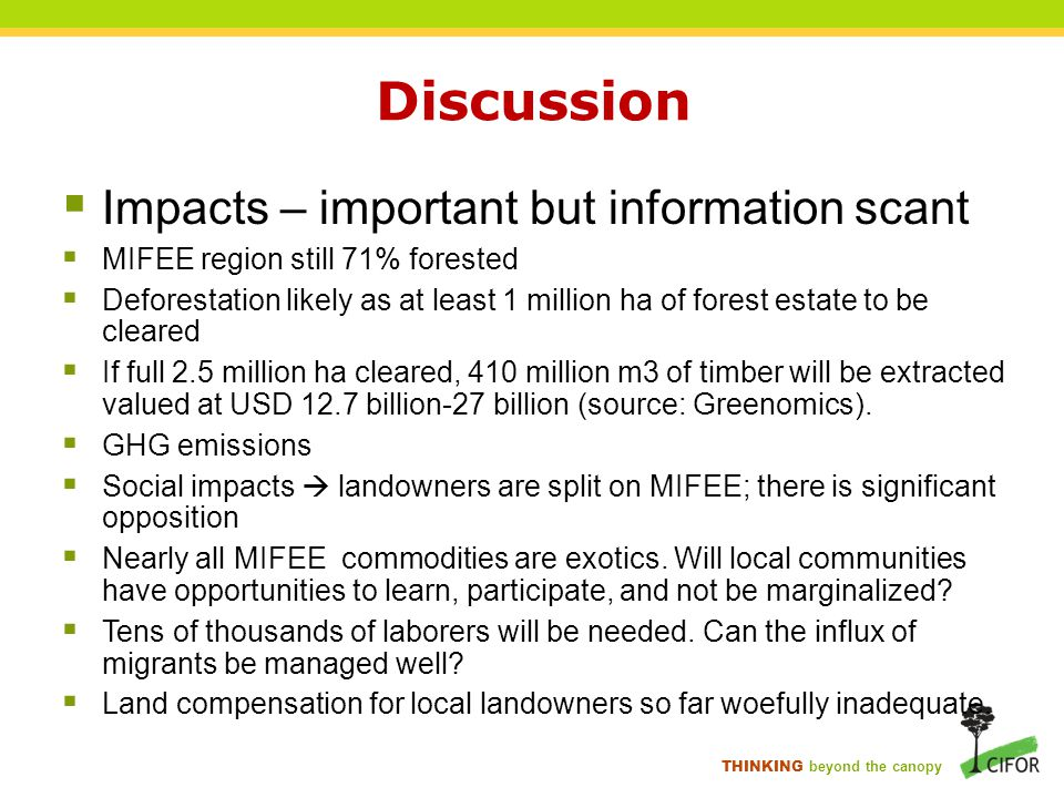 THINKING beyond the canopy Discussion  Impacts – important but information scant  MIFEE region still 71% forested  Deforestation likely as at least 1 million ha of forest estate to be cleared  If full 2.5 million ha cleared, 410 million m3 of timber will be extracted valued at USD 12.7 billion-27 billion (source: Greenomics).