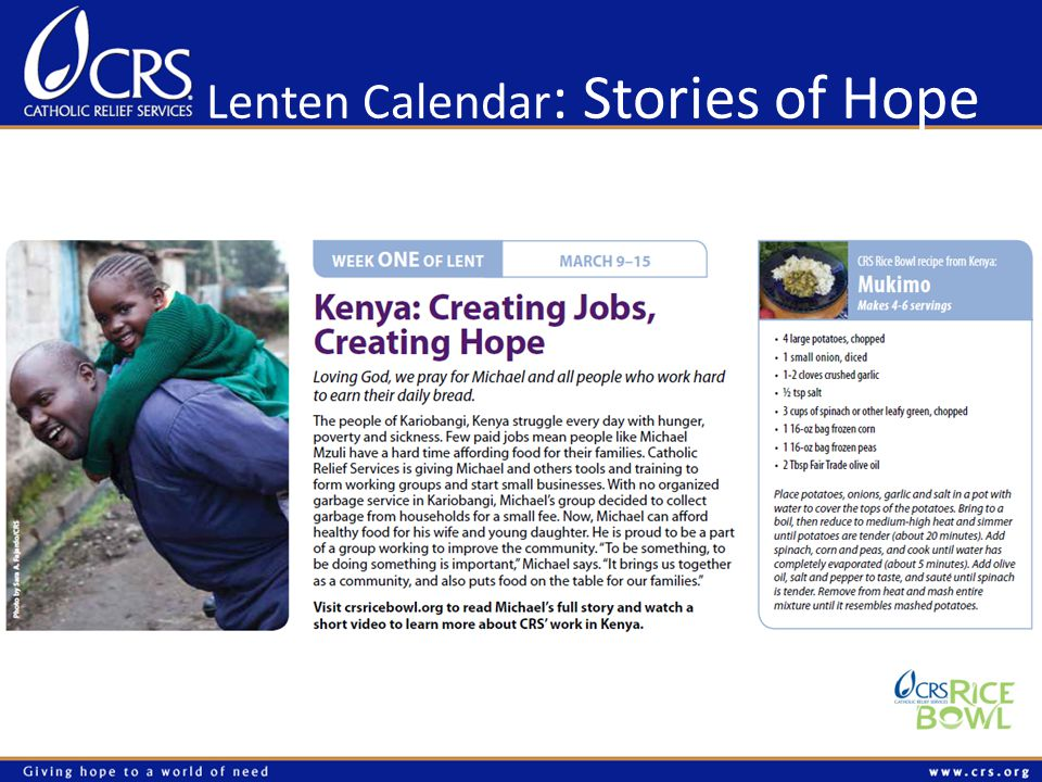 Lenten Calendar : Stories of Hope