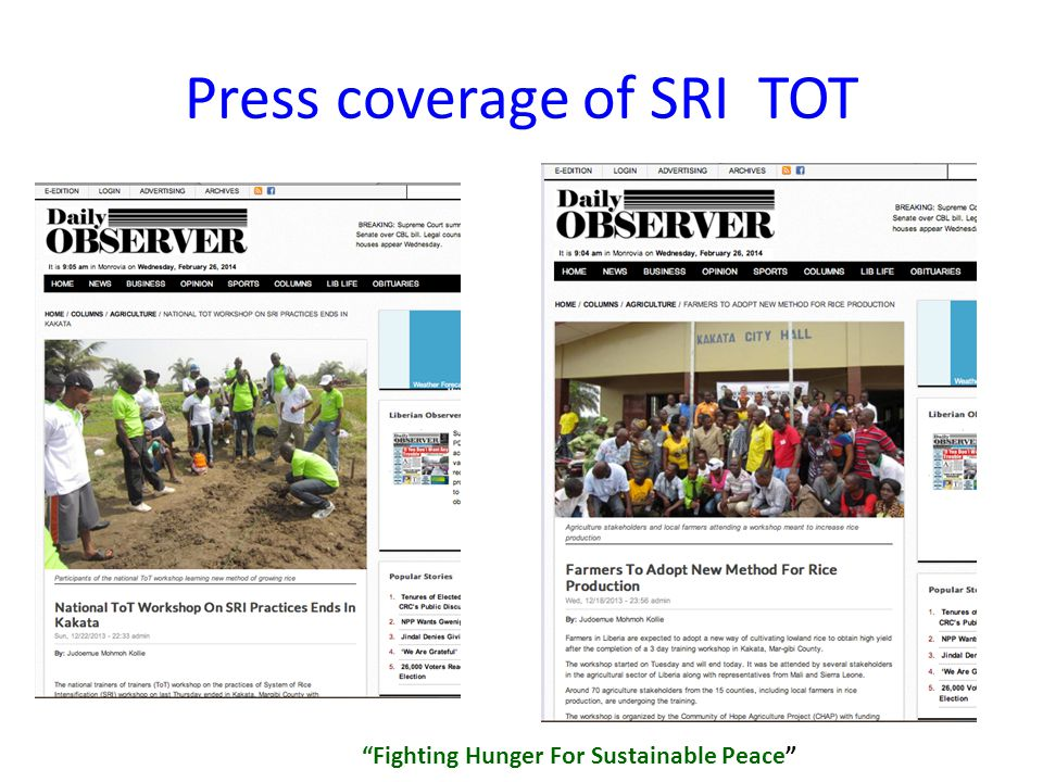 Press coverage of SRI TOT Fighting Hunger For Sustainable Peace