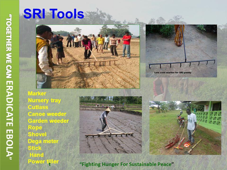 SRI Tools  Marker  Nursery tray  Cutlass  Canoe weeder  Garden weeder  Rope  Shovel  Dega meter  Stick  Hand  Power tiller t Fighting Hunger For Sustainable Peace