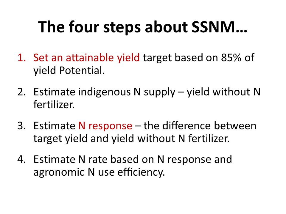 The four steps about SSNM… 1.Set an attainable yield target based on 85% of yield Potential.