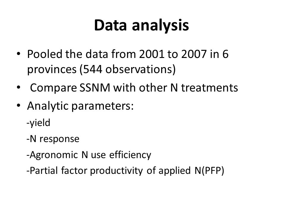Data analysis Pooled the data from 2001 to 2007 in 6 provinces (544 observations) Compare SSNM with other N treatments Analytic parameters: -yield -N