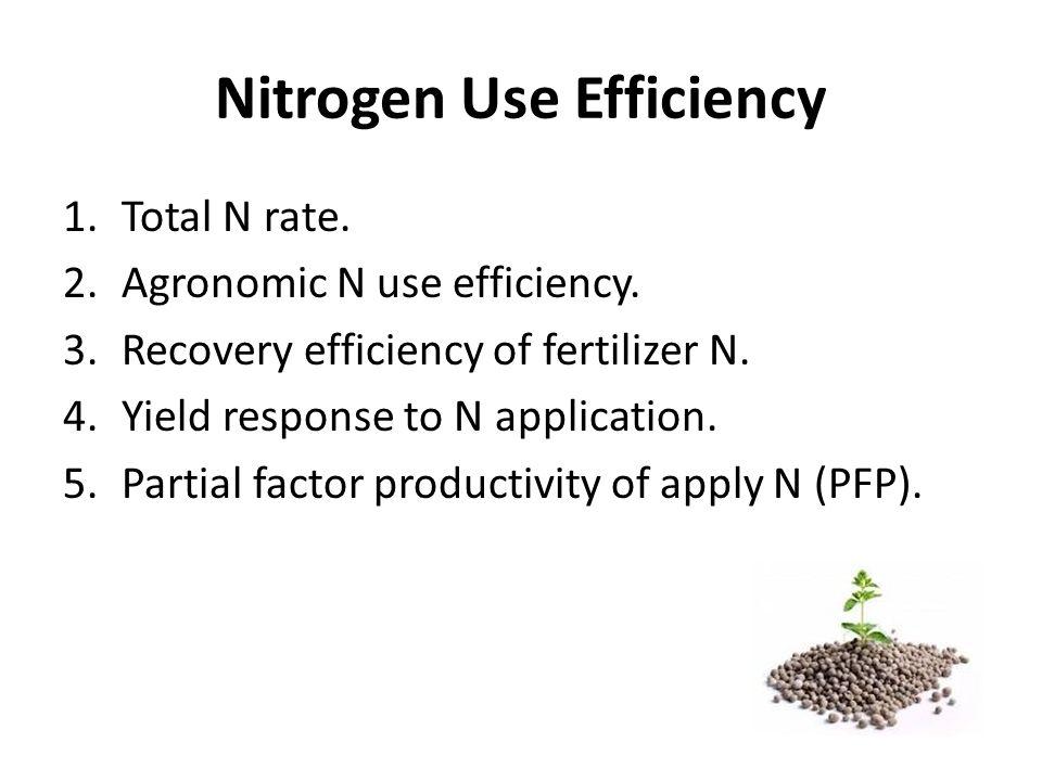 Nitrogen Use Efficiency 1.Total N rate.2.Agronomic N use efficiency.