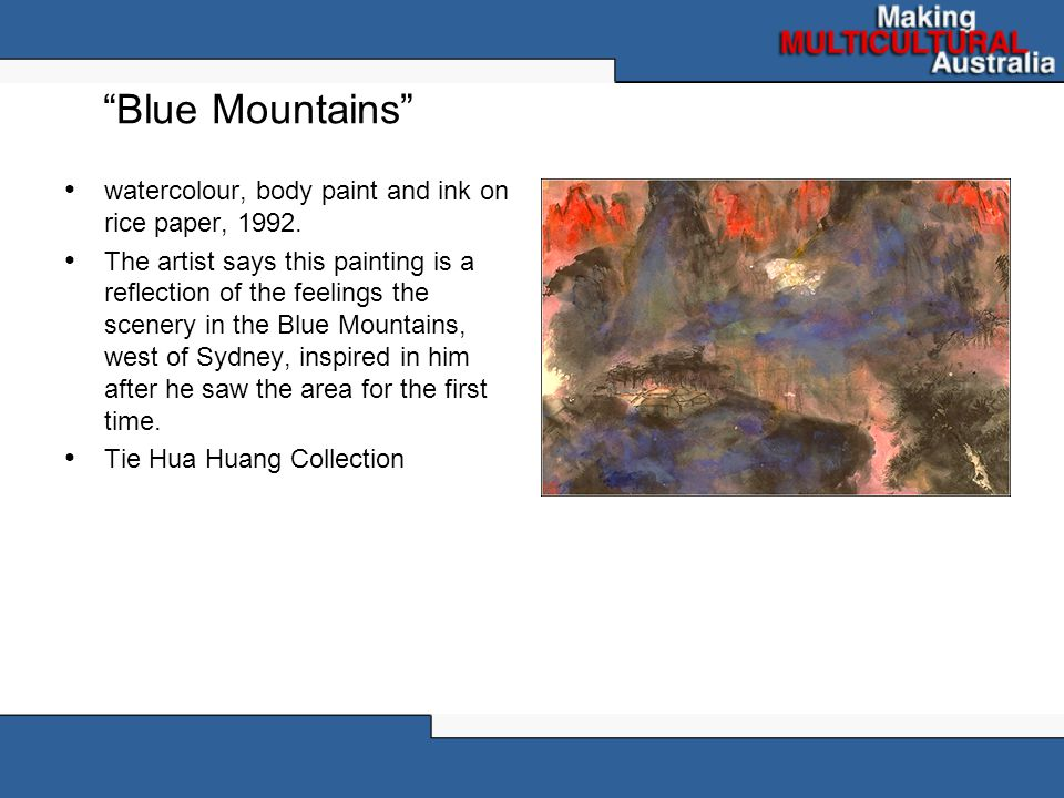 Blue Mountains watercolour, body paint and ink on rice paper, 1992.