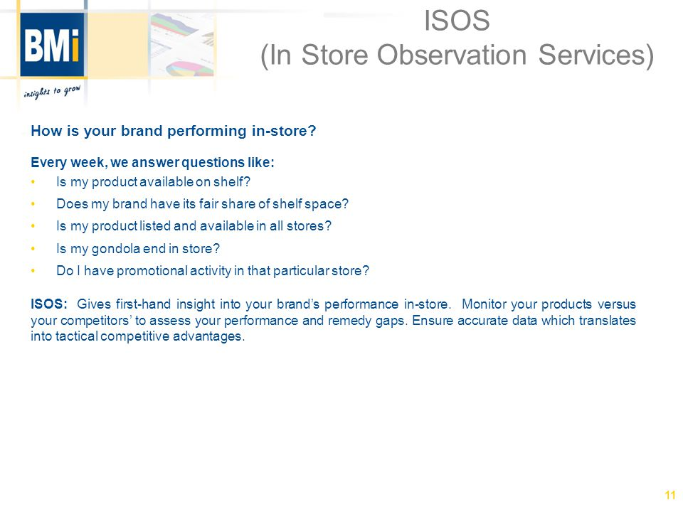 ISOS (In Store Observation Services) How is your brand performing in-store.