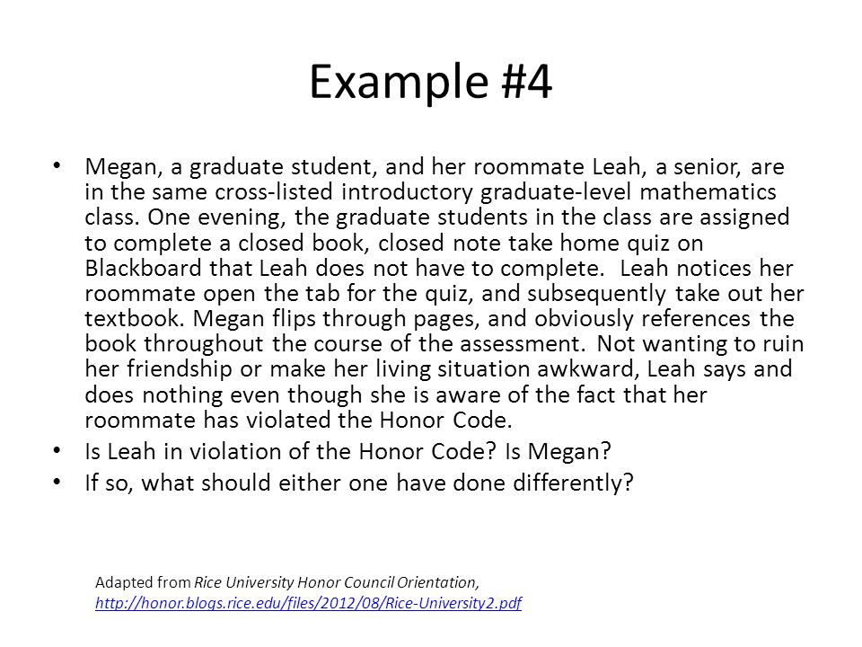 Example #4 Megan, a graduate student, and her roommate Leah, a senior, are in the same cross-listed introductory graduate-level mathematics class.