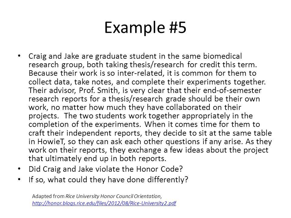 Example #6 Jennifer's thesis advisor, Prof.
