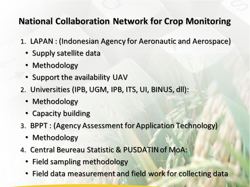 1. LAPAN : (Indonesian Agency for Aeronautic and Aerospace) Supply satellite data Supply satellite data Methodology Methodology Support the availabili