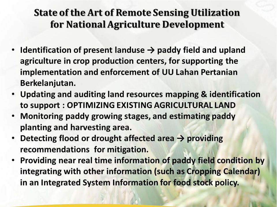 Identification of present landuse → paddy field and upland agriculture in crop production centers, for supporting the implementation and enforcement of UU Lahan Pertanian Berkelanjutan.