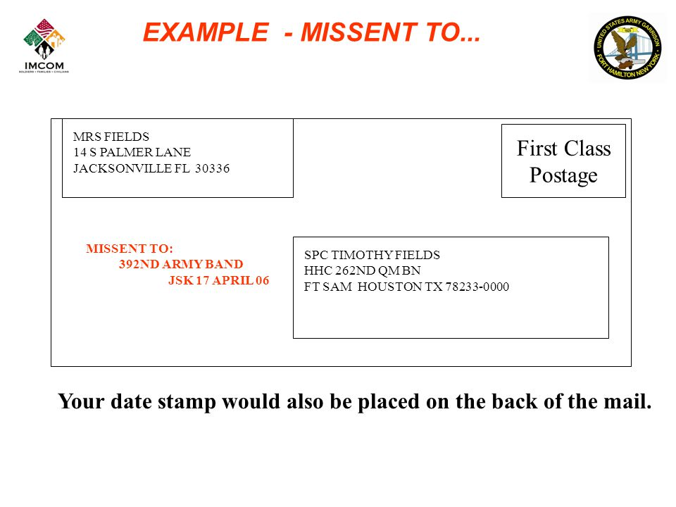 EXAMPLE - MISSENT TO...