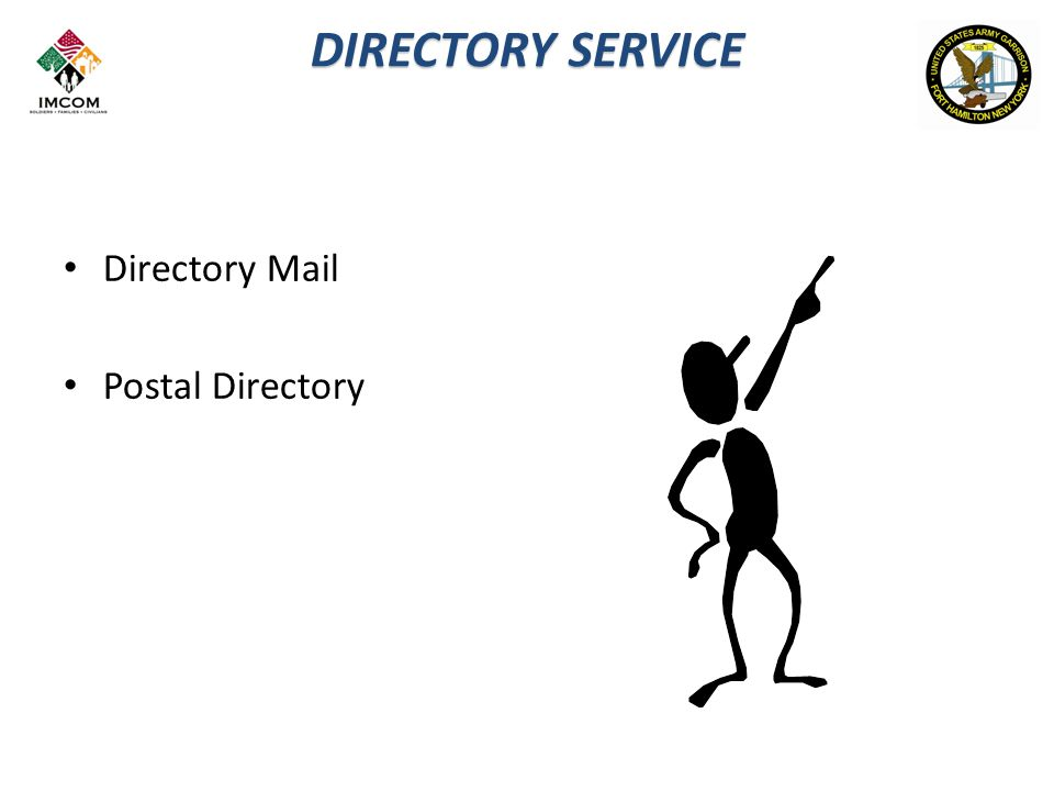 DIRECTORY SERVICE Directory Mail Postal Directory