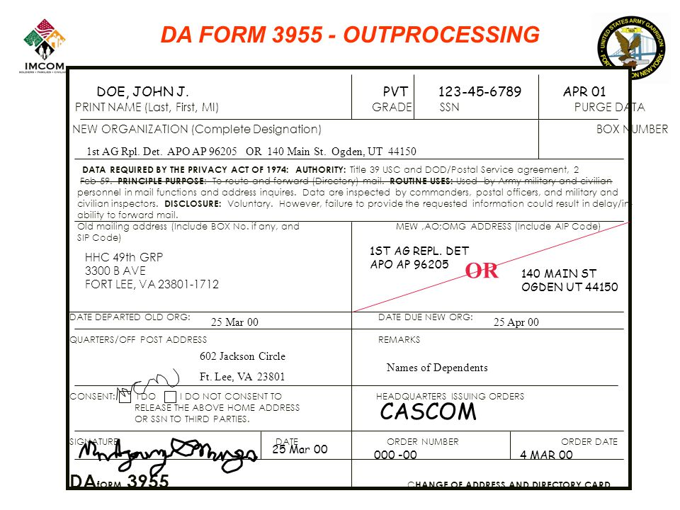 DA FORM 3955 - OUTPROCESSING PRINT NAME (Last, First, MI) GRADE SSN PURGE DATA NEW ORGANIZATION (Complete Designation) BOX NUMBER DATA REQUIRED BY THE PRIVACY ACT OF 1974: AUTHORITY: Title 39 USC and DOD/Postal Service agreement, 2 Feb 59.