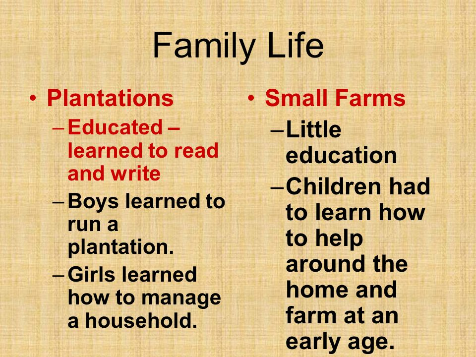Family Life Plantations –Educated – learned to read and write –Boys learned to run a plantation. –Girls learned how to manage a household. Small Farms