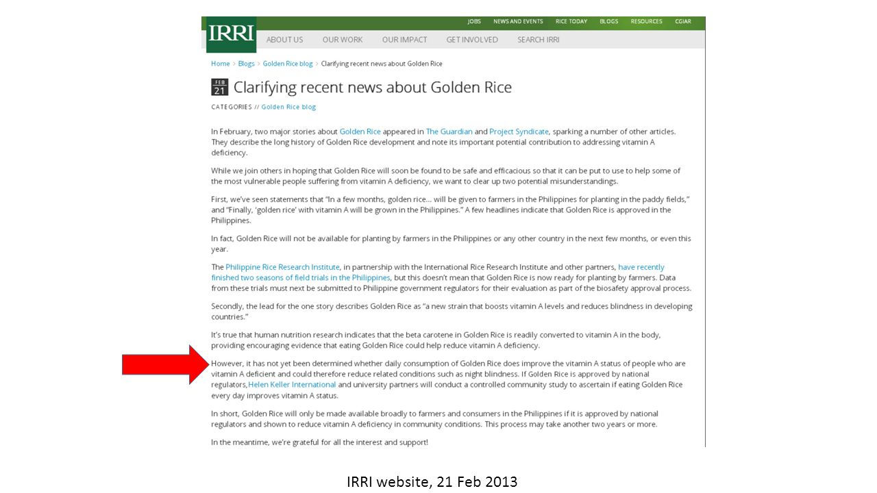IRRI website, 21 Feb 2013