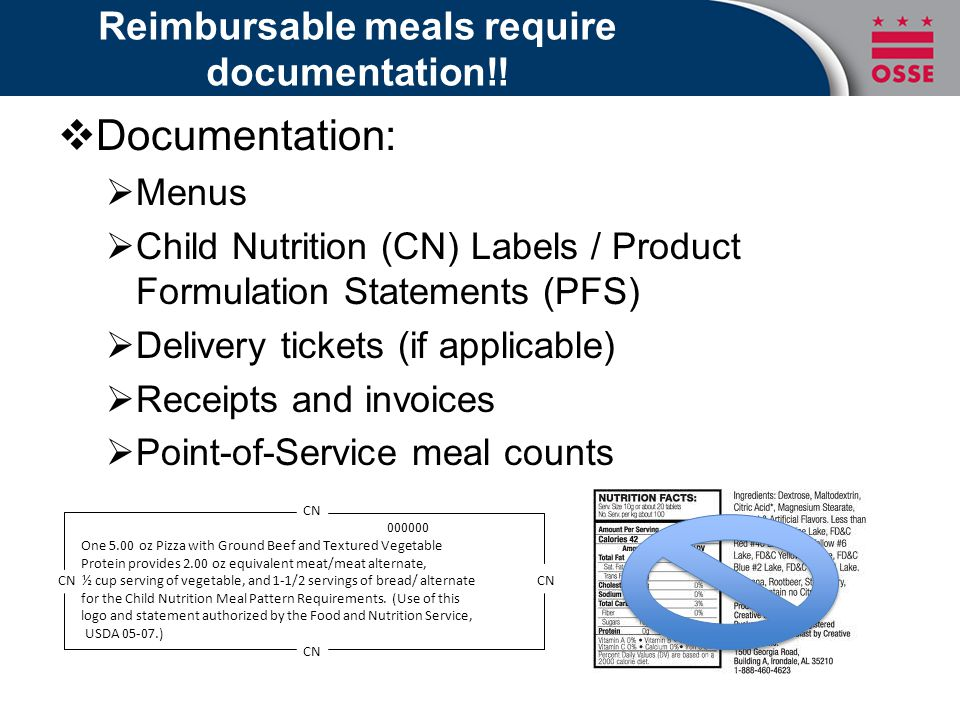 What makes a meal reimbursable. CACFP Requirements:  U.S.D.A.