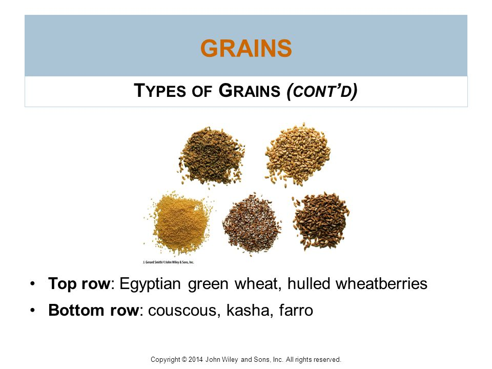 Copyright © 2014 John Wiley and Sons, Inc. All rights reserved. G RAINS Other Grains –Wild rice Not actually rice but rather the seed of an unrelated