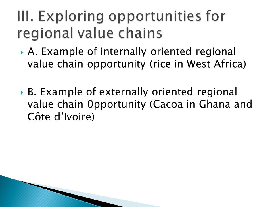  A. Example of internally oriented regional value chain opportunity (rice in West Africa)  B.