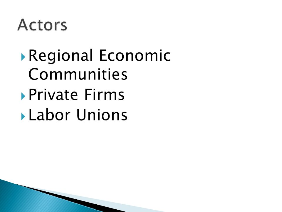 Regional Economic Communities  Private Firms  Labor Unions