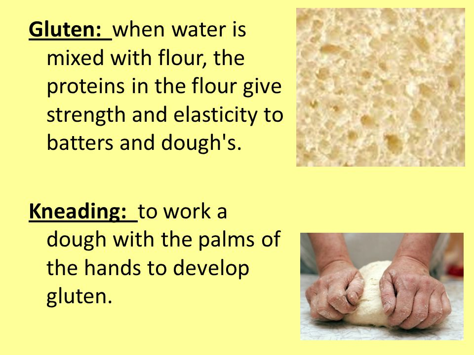 Gluten: when water is mixed with flour, the proteins in the flour give strength and elasticity to batters and dough s.