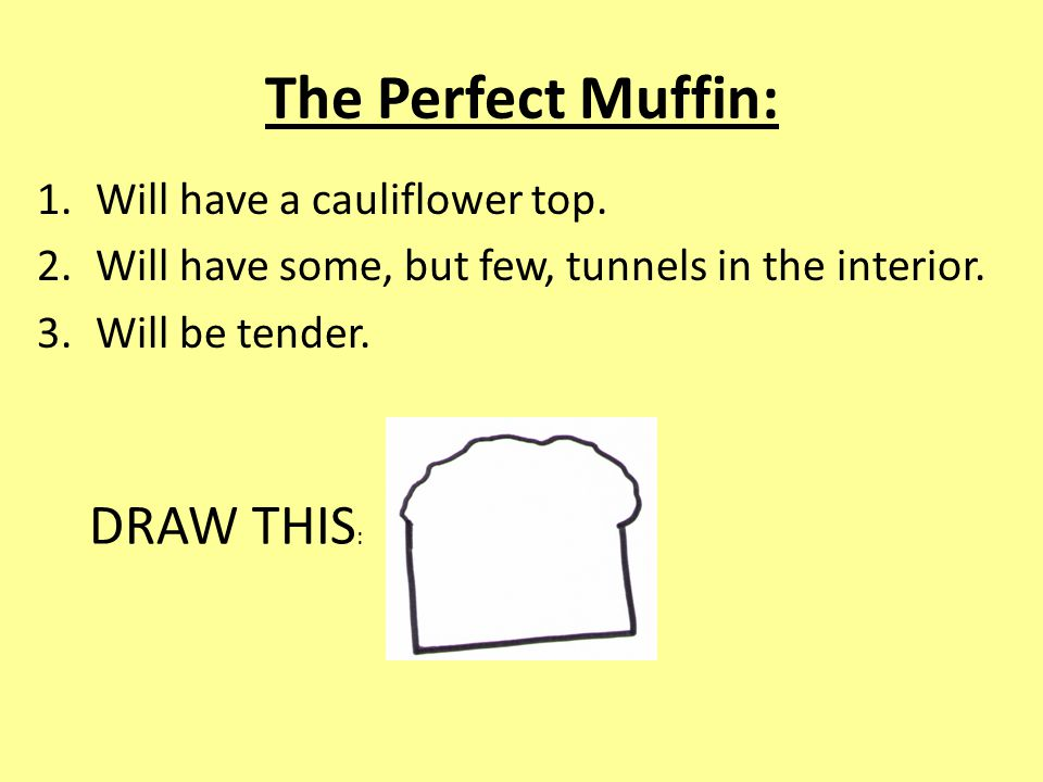 The Perfect Muffin: 1.Will have a cauliflower top.