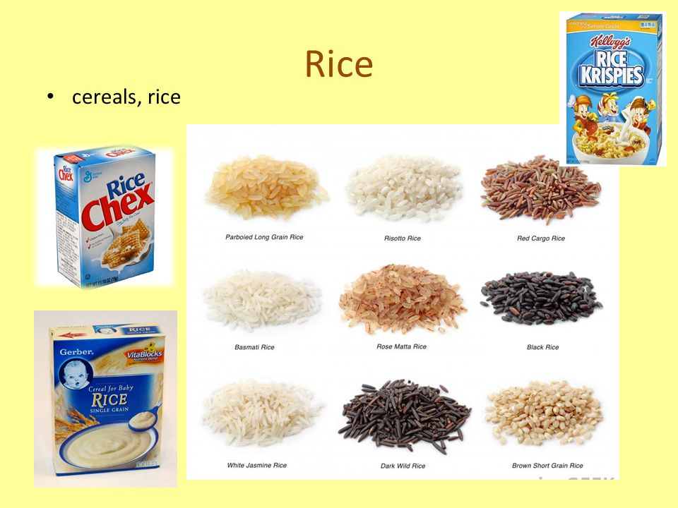 Rice cereals, rice