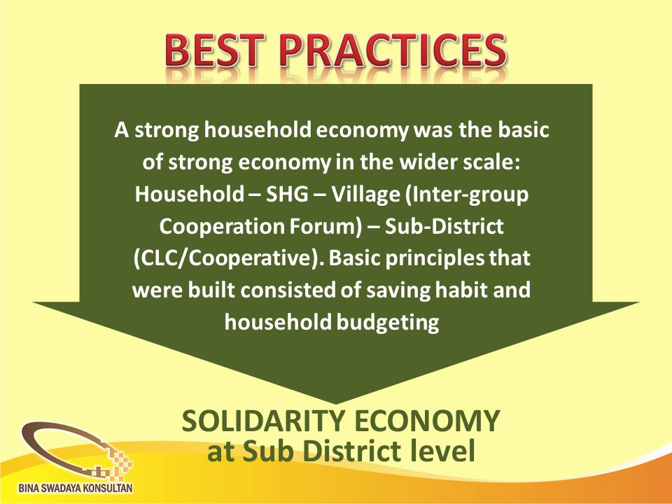 A strong household economy was the basic of strong economy in the wider scale: Household – SHG – Village (Inter-group Cooperation Forum) – Sub-District (CLC/Cooperative).