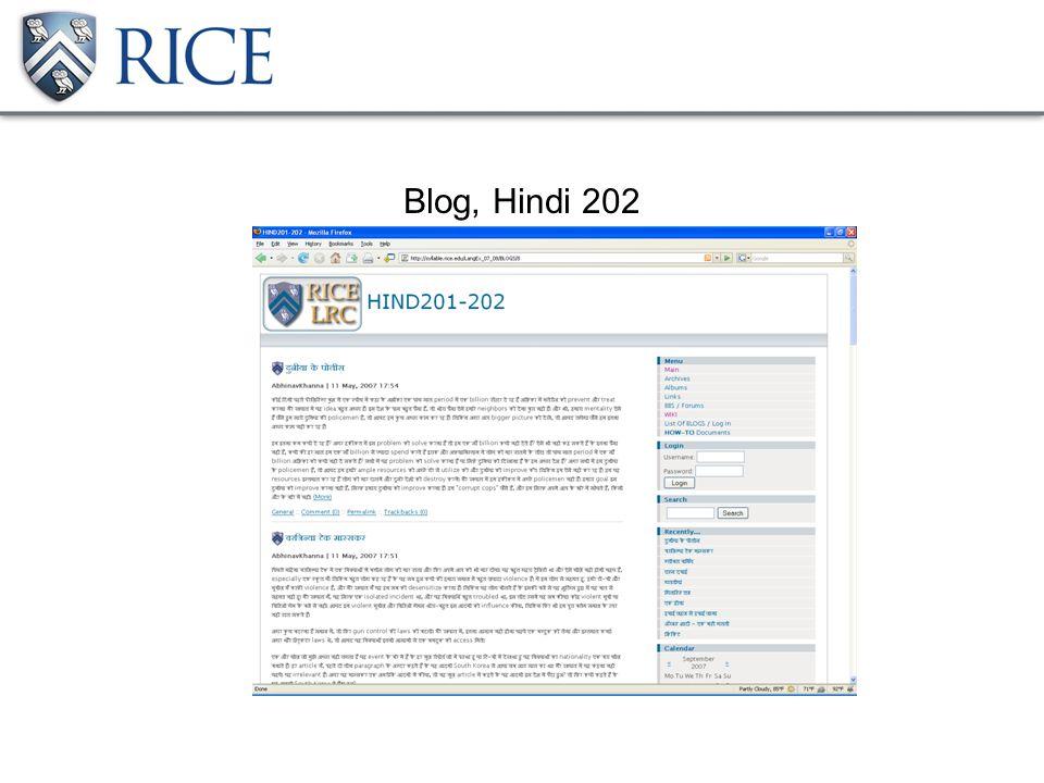 Blog, Hindi 202