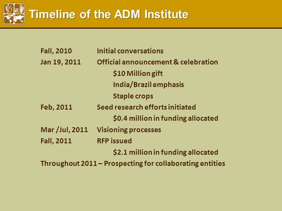 Fall, 2010 Initial conversations Jan 19, 2011Official announcement & celebration $10 Million gift India/Brazil emphasis Staple crops Feb, 2011 Seed re