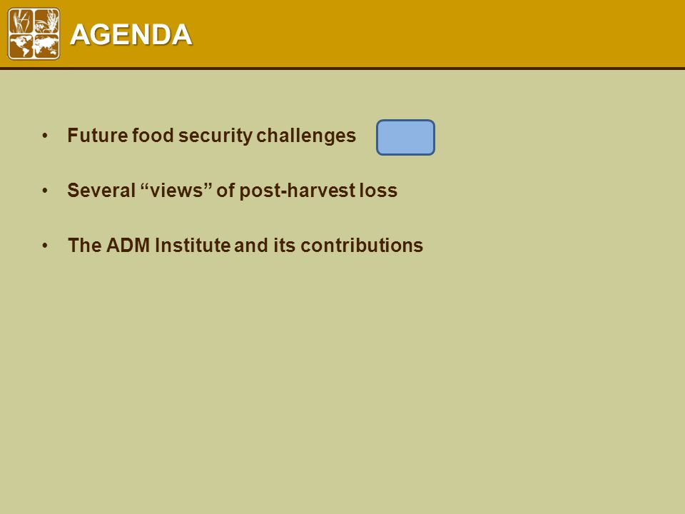 "AGENDA Future food security challenges Several ""views"" of post-harvest loss The ADM Institute and its contributions"
