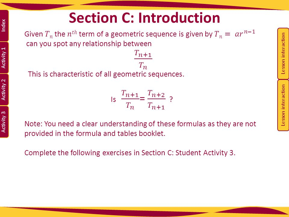 Activity 1 Activity 2 Index Activity 3 Section C: Introduction Lesson interaction