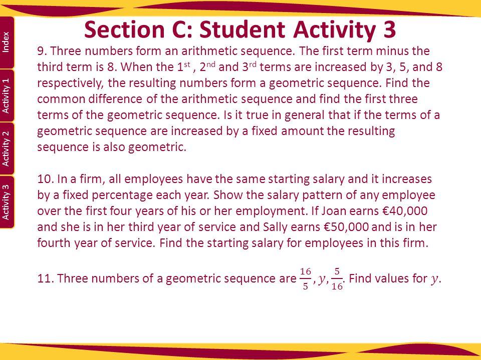 Activity 1 Activity 2 Index Activity 3 Section C: Student Activity 3