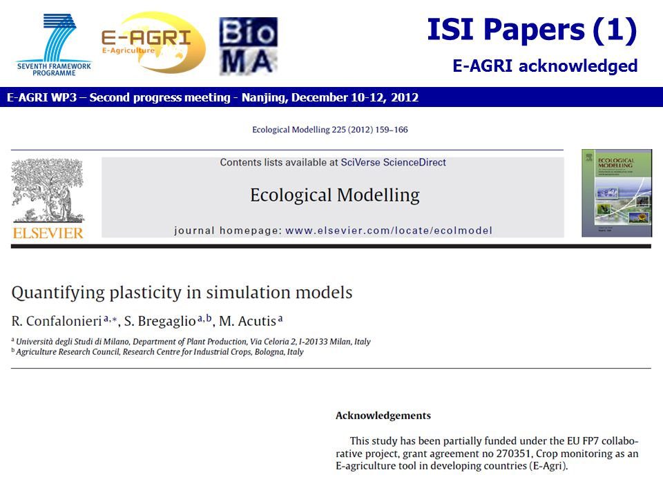 ISI Papers (1) E-AGRI acknowledged E-AGRI WP3 – Second progress meeting - Nanjing, December 10-12, 2012