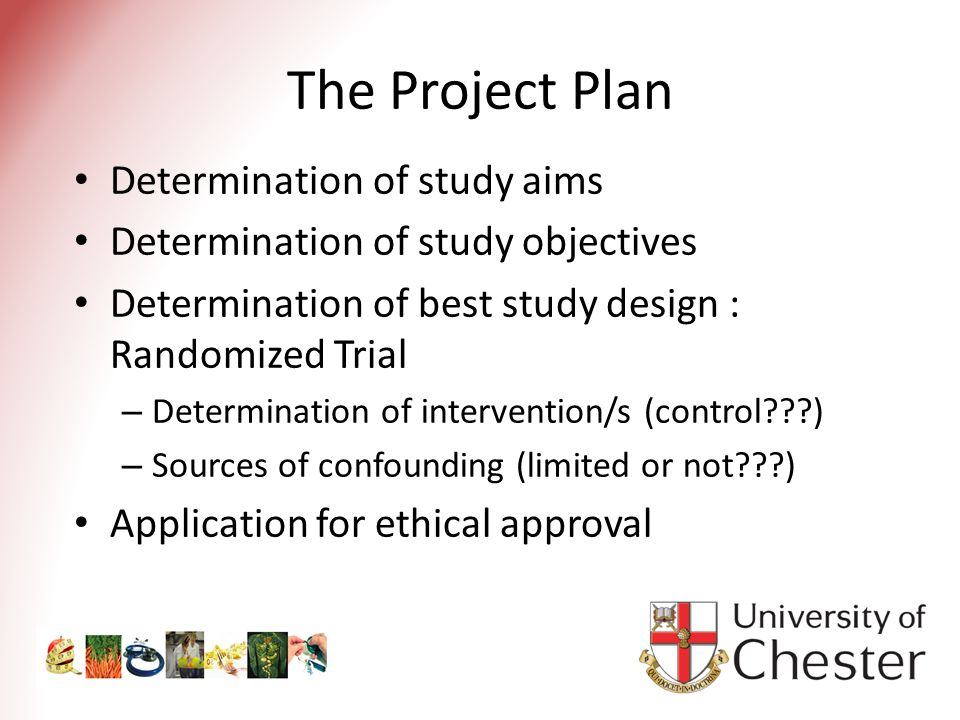 The Project Plan Determination of study aims Determination of study objectives Determination of best study design : Randomized Trial – Determination of intervention/s (control ) – Sources of confounding (limited or not ) Application for ethical approval