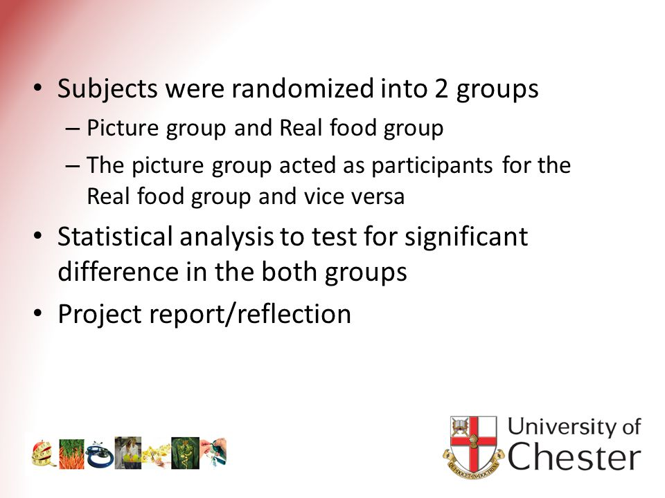 Subjects were randomized into 2 groups – Picture group and Real food group – The picture group acted as participants for the Real food group and vice versa Statistical analysis to test for significant difference in the both groups Project report/reflection