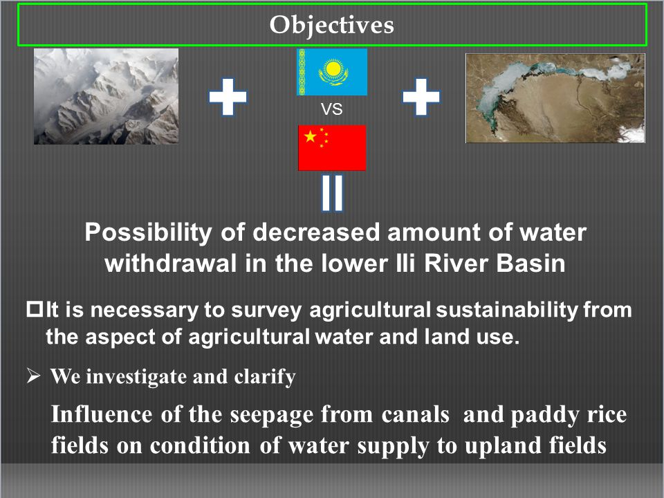 Objectives VS Possibility of decreased amount of water withdrawal in the lower Ili River Basin  It is necessary to survey agricultural sustainability from the aspect of agricultural water and land use.