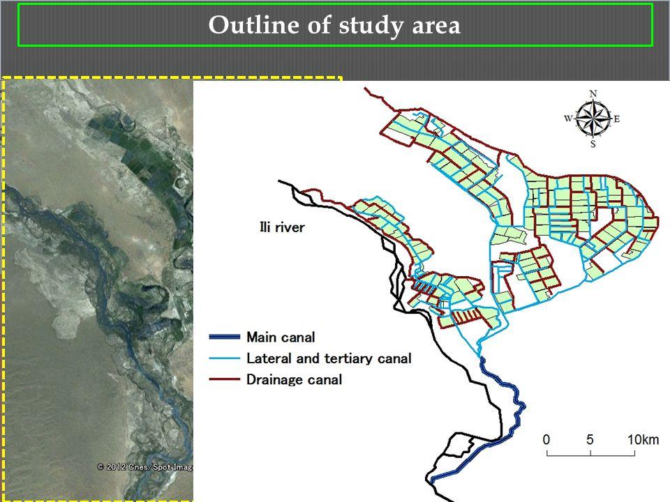 6 Google earth Outline of study area Akdara Irrigation district Lake Balkhash Ili river Kapchagai reservoir Kazakhstan China