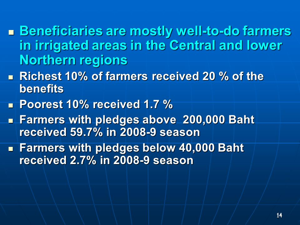 14 14 Beneficiaries are mostly well-to-do farmers in irrigated areas in the Central and lower Northern regions Beneficiaries are mostly well-to-do farmers in irrigated areas in the Central and lower Northern regions Richest 10% of farmers received 20 % of the benefits Richest 10% of farmers received 20 % of the benefits Poorest 10% received 1.7 % Poorest 10% received 1.7 % Farmers with pledges above 200,000 Baht received 59.7% in 2008-9 season Farmers with pledges above 200,000 Baht received 59.7% in 2008-9 season Farmers with pledges below 40,000 Baht received 2.7% in 2008-9 season Farmers with pledges below 40,000 Baht received 2.7% in 2008-9 season