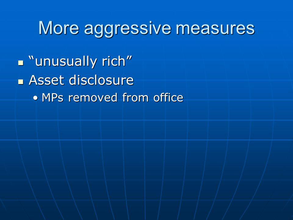 "More aggressive measures ""unusually rich"" ""unusually rich"" Asset disclosure Asset disclosure MPs removed from officeMPs removed from office"