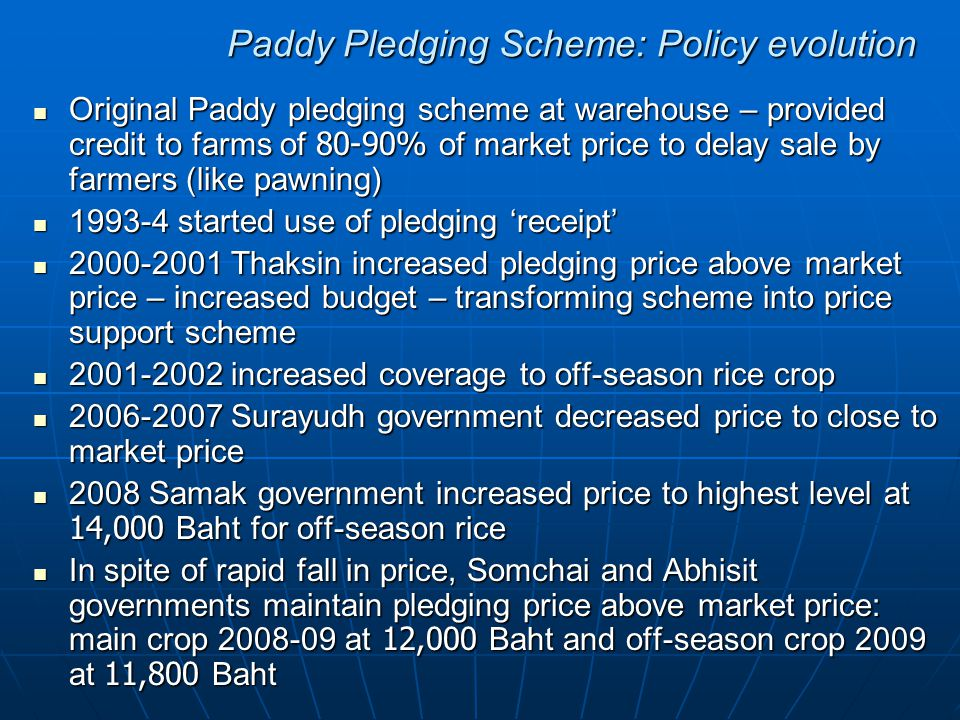Paddy Pledging Scheme: Policy evolution Original Paddy pledging scheme at warehouse – provided credit to farms of 80-90% of market price to delay sale