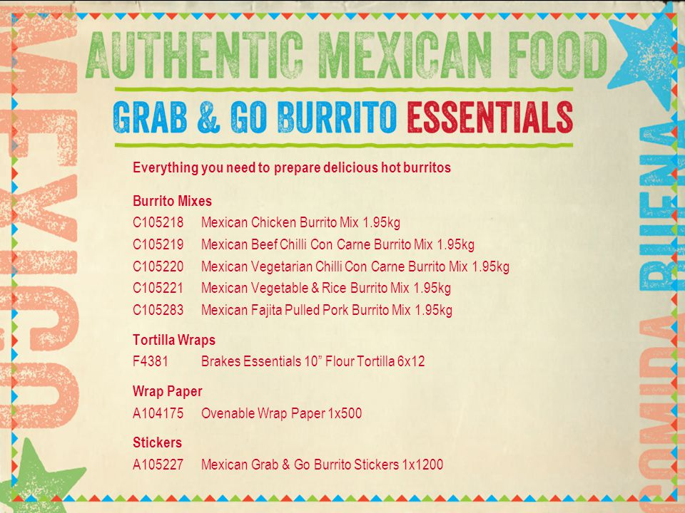 Our new burrito mixes are made with pulled meat, vegetarian options plus vegetables, rice and sauce.