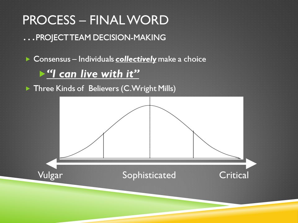 PROCESS – FINAL WORD … PROJECT TEAM DECISION-MAKING  Consensus – Individuals collectively make a choice  I can live with it  Three Kinds of Believers (C.