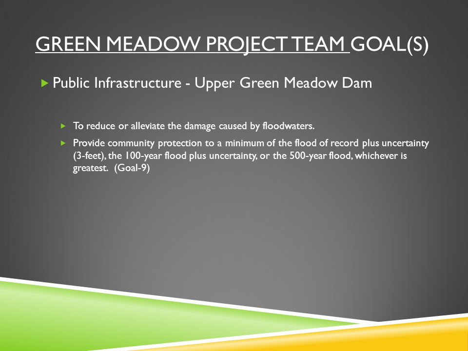 GREEN MEADOW PROJECT TEAM GOAL(S)  Public Infrastructure - Upper Green Meadow Dam  To reduce or alleviate the damage caused by floodwaters.