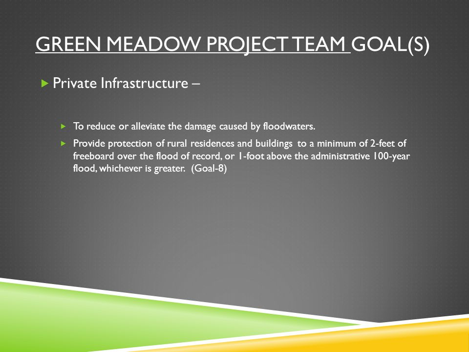 GREEN MEADOW PROJECT TEAM GOAL(S)  Private Infrastructure –  To reduce or alleviate the damage caused by floodwaters.