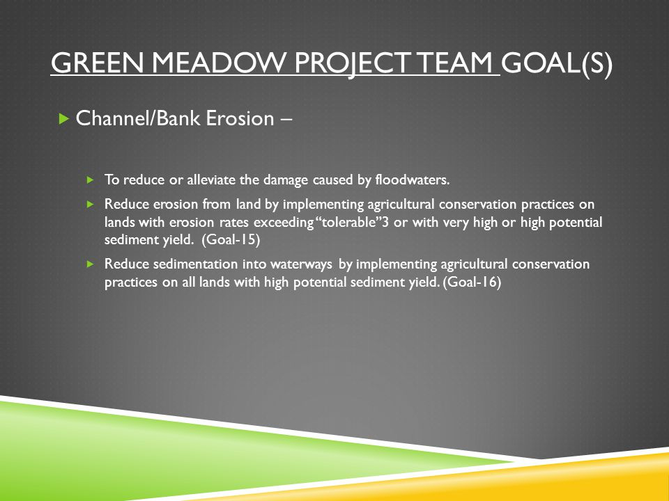 GREEN MEADOW PROJECT TEAM GOAL(S)  Channel/Bank Erosion –  To reduce or alleviate the damage caused by floodwaters.