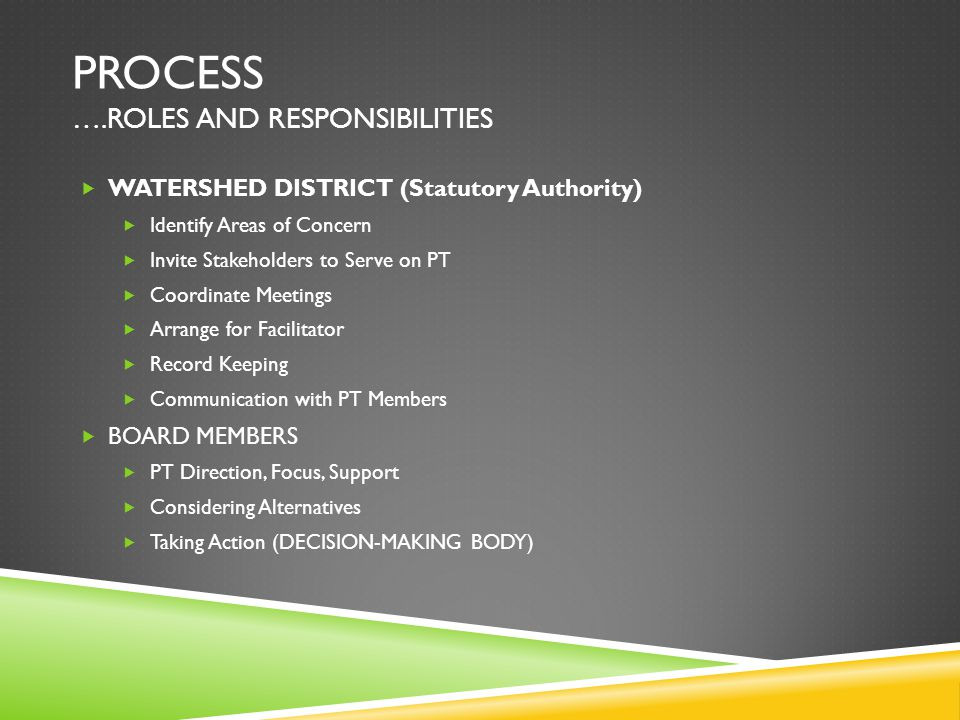 PROCESS ….ROLES AND RESPONSIBILITIES  WATERSHED DISTRICT (Statutory Authority)  Identify Areas of Concern  Invite Stakeholders to Serve on PT  Coordinate Meetings  Arrange for Facilitator  Record Keeping  Communication with PT Members  BOARD MEMBERS  PT Direction, Focus, Support  Considering Alternatives  Taking Action (DECISION-MAKING BODY)