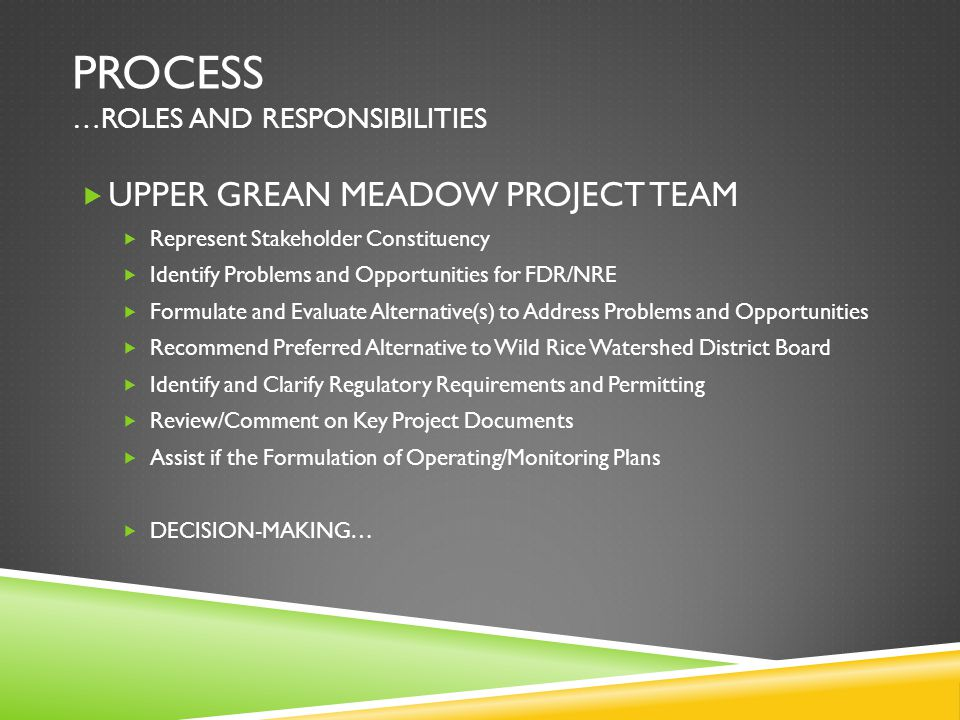 PROCESS …ROLES AND RESPONSIBILITIES  UPPER GREAN MEADOW PROJECT TEAM  Represent Stakeholder Constituency  Identify Problems and Opportunities for FDR/NRE  Formulate and Evaluate Alternative(s) to Address Problems and Opportunities  Recommend Preferred Alternative to Wild Rice Watershed District Board  Identify and Clarify Regulatory Requirements and Permitting  Review/Comment on Key Project Documents  Assist if the Formulation of Operating/Monitoring Plans  DECISION-MAKING…